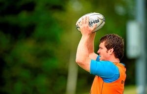 Mike Sherry prepares to throw into a lineout during squad training in Bishopstown this week
