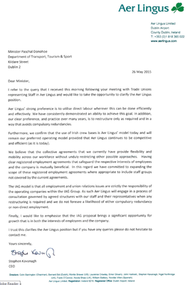 Aer Lingus chief executive Stephen Kavanagh has written to Transport Minister Paschal Donohoe regarding sale to IAG