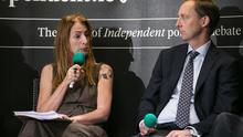 Clare Daly, Independents4Change and Barry Andrews, Fianna Fail, during the special European Election Floating Voter Show from Jameson Distillery Bow Street last week (Photo: Kyran O'Brien)