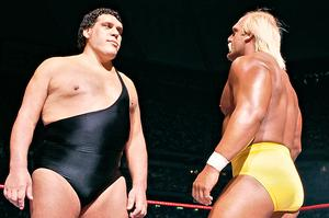 Hulk Hogan faces off against Andre the Giant at Wrestlemania III back in 1987