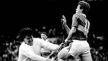 Antrim goalkeeper Niall Patterson tackles Tipperary's Declan Ryan during their All-Ireland final encounter in 1989. Photo: Ray McManus/SPORTSFILE