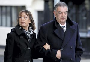 Ian Bailey and his partner Jules Thomas outside the High Court yesterday