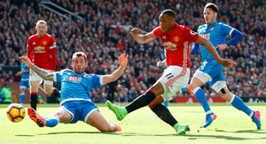Manchester United's Anthony Martial has a shot on goal. Photo: PA