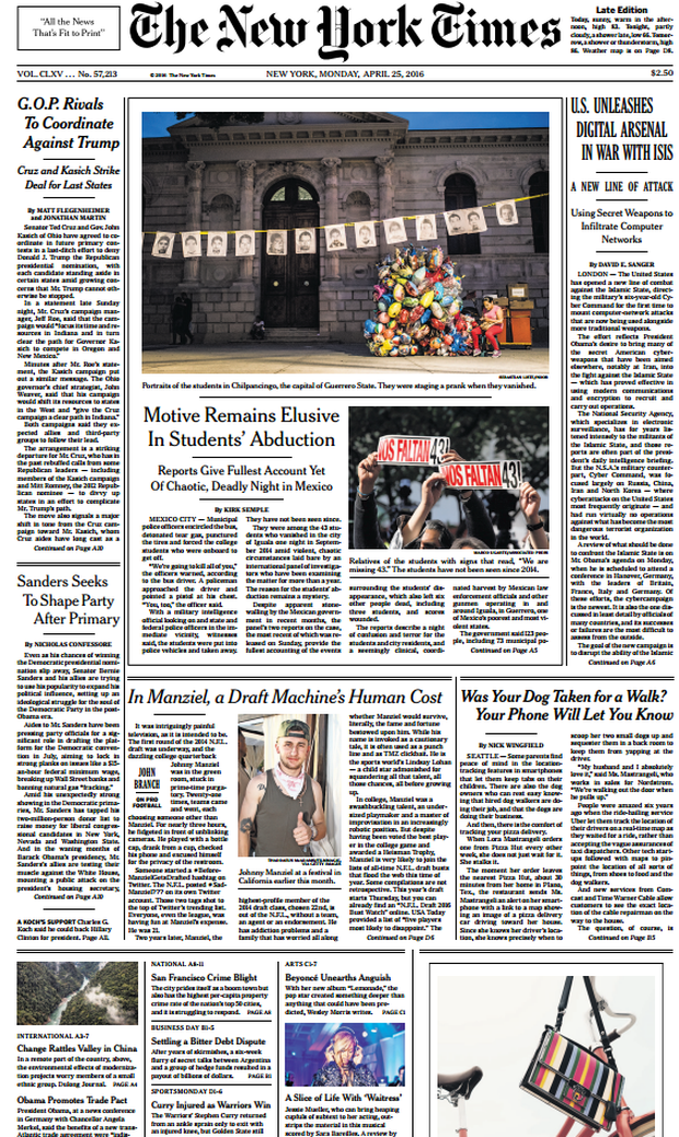 Today's front page of the New York Times