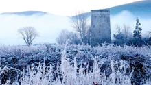 Cold snap: Frozen fields at Poulakerry Tower House in Kilsheelan, Co Tipperary, yesterday. Photo: Niall Carson/PA