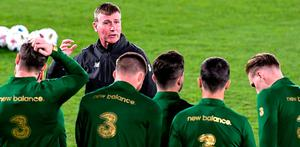 Staying positive: After a week of Covid chaos, Ireland boss Stephen Kenny was urging his players to stick to their principles at a training session in Helsinki last night. Photo: Sportsfile