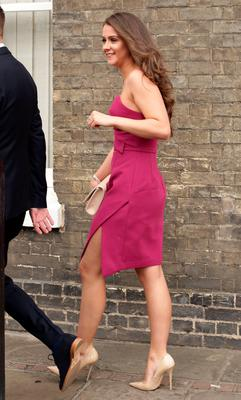 Brooke Vincent makes her way to St Mary's Church in Bury St Edmunds, Suffolk, for the wedding of former Coronation Street actress Michelle Keegan to The Only Way Is Essex star Mark Wright.  Yui Mok/PA Wire