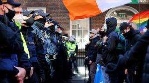 Gardai at an anti mask demonstration outside the Dail on Kildare Street. Photo by Steve Humphreys, 10th October 2020