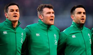 SENSE OF PRIDE: Ireland players (l-r) Jonathan Sexton, Peter O'Mahony and Conor Murray during the national anthem prior to the Six Nations match against England at the Aviva Stadium. Photo: Brendan Moran/Sportsfile