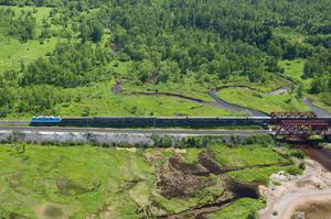 Russia: An aerial view of the Trans-Siberian railroad
