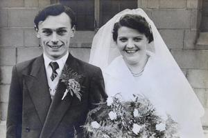 Victor and Elsie Bower on their wedding day in 1954.
