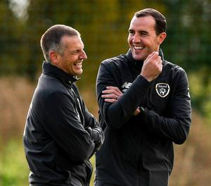 Assistant manager John O'Shea with manager Jim Crawford. Photo: Sportsfile