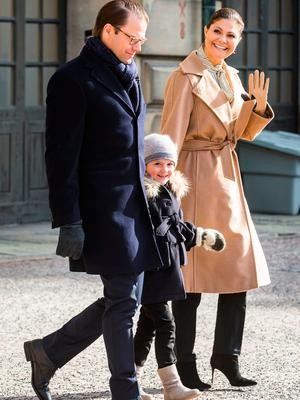 Crown Princess Victoria, Prince Daniel, and Princess Estelle of Sweden attend a Name Day celebration for Princess Victoria at the Royal Palace on March 12, 2017 in Stockholm, Sweden. (Photo by Michael Campanella/Getty Images)