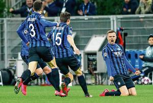 Josip Ilicic celebrates after scoring for Atalanta in their Champions League clash against Valencia at the San Siro last month. Photo: Matteo Ciambelli/NurPhoto via Getty Images