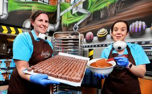 Manager Eileen Ann O'Shea and supervisor Linda Sigerson at Skelligs Chocolate in St Finian's Bay, now operating at a limited capacity. Photo: Steve Humphreys