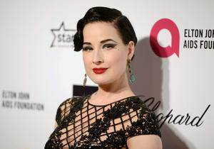 Dita Von Teese arrives at the 2015 Elton John AIDS Foundation Oscar Party in West Hollywood