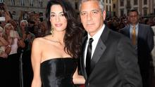 Hollywood actor and director George Clooney and his fiancee, Amal Alamuddin. Photo credit: Andrew Goodman/Getty Images for Celebrity Fight Night