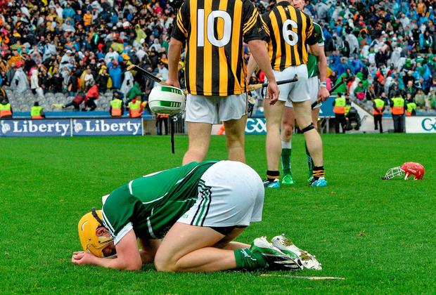 A dejected Paul Browne, Limerick, at the end of the thrilling All-Ireland hurling semi-final at Croke Park