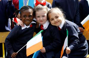 Pictured at the official opening of 3 refurbished rooms in Gardiner Street School that once operated as a food centre for the local community was pupils from Gardiner Street School Tracey Ikhe (age 4), Lacey Byrne (age 4) and Beatrice Raiu (age 5)