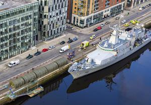 Helping out: The LÉ Samuel Beckett berthed on Sir John Rogerson's Quay in Dublin. Photo: Aerial.ie