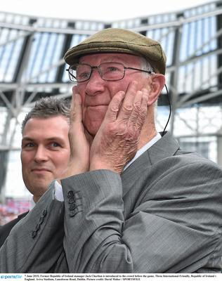 Jack Charlton is introduced to the crowd ahead of Ireland v England in 2015