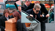 Shane McGowan (pictured inset) joins mourners at the funeral of his mother Therese MacGowan.