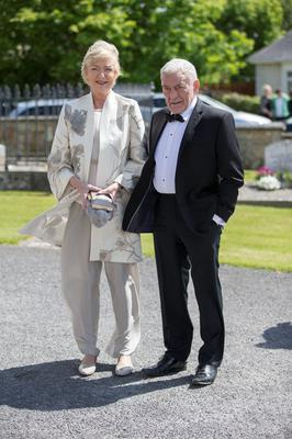 Marian Finucane and John Clarke pictured at Mairead Farrell and Louis Ronan's wedding in Tipperary. Picture Dylan Vaughan.