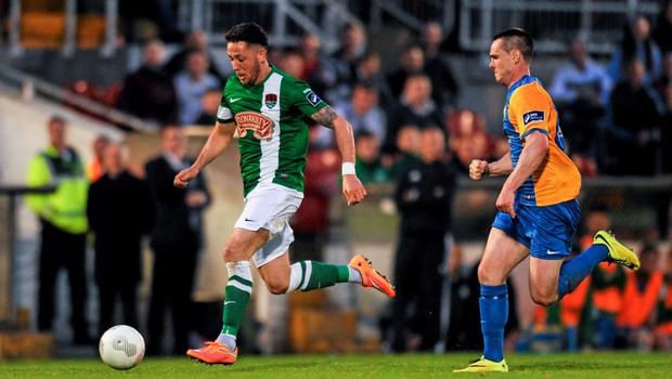 12 June 2015; Billy Dennehy, Cork City, in action against Michael Barker, Bray Wanderers. SSE Airtricity League Premier Division, Cork City v Bray Wanderers, Turners Cross, Cork. Picture credit: Eoin Noonan / SPORTSFILE