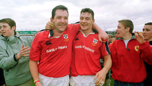 15 April 2000;  Munster's Anthony Foley, left, and David Wallace celebrate victory over Stade Francais. European Rugby Cup Quarter-Final, Munster v Stade Francais, Thomond Park, Limerick. Rugby. Photo by Brendan Moran/Sportsfile