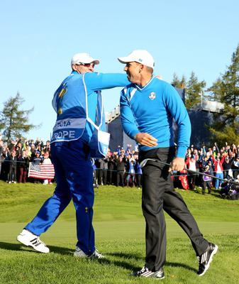Europe's Sergio Garcia celebrates chipping in from a bunker during the fourballs on day one of the 40th Ryder Cup at Gleneagles Golf Course, Perthshire. PRESS ASSOCIATION Photo. Picture date: Friday September 26, 2014. Photo credit should read: Lynne Cameron/PA Wire. RESTRICTIONS: Use subject to restrictions. Editorial use only. No commercial use. Call +44 (0)1158 447447 for further information.