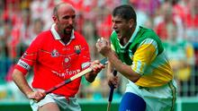Offaly's Michael Duignan taking on Cork's Brian Corcoran during the 2000 All-Ireland SHC semi-final. Photo: Ray McManus/SPORTSFILE