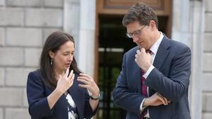 Green Party leader Eamon Ryan and deputy party leader Catherine Martin. Photo: Tom Burke