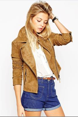 Suede biker jacket, €124 at Asos