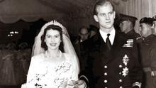 Britain's Queen Elizabeth and Prince Philip at their wedding in 1947
