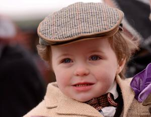 Two year old Byron Barker, from Dunboyne, Co. Meath, at the day's racing. Photo: Sportsfile
