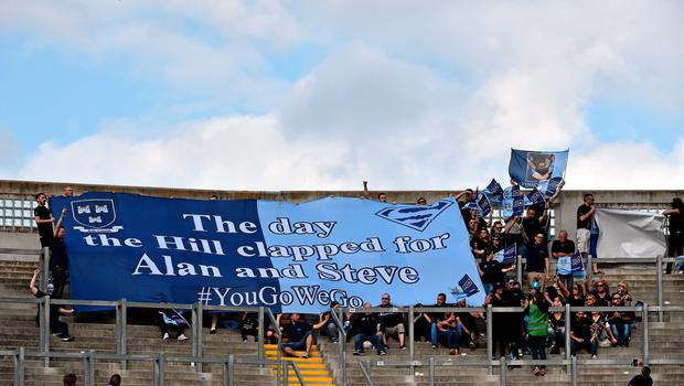 28 June 2015; Supporters on Hill 16 hold up a banner to celebrate the lives of avid Dublin supporters and brothers Alan and Stephen Harris and six Irish students who died in an accident in Berkeley, California, last week. Leinster GAA Football Senior Championship, Semi-Final, Dublin v Kildare. Croke Park, Dublin. Picture credit: David Maher / SPORTSFILE