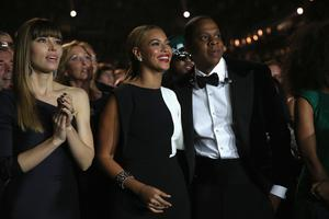 Actress Jessica Biel, singer Beyonce and hip-hop artist Jay Z attend the 55th Annual GRAMMY Awards at STAPLES Center in 2013