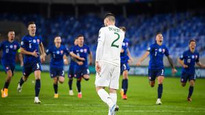 Matt Doherty missed the decisive penalty in Ireland's penalty shootout defeat to Slovakia. Photo by Stephen McCarthy/Sportsfile
