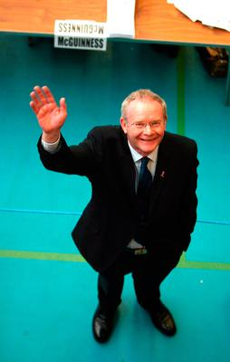 Martin McGuinness of Sinn Fein standing beside a table where his votes are being counted after the Northern Ireland Assembly election in Ballymena, Co Antrim. Photo: Julien Behal/PA Wire