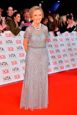 Mary Berry attending the National Television Awards 2017 at the O2, London.
