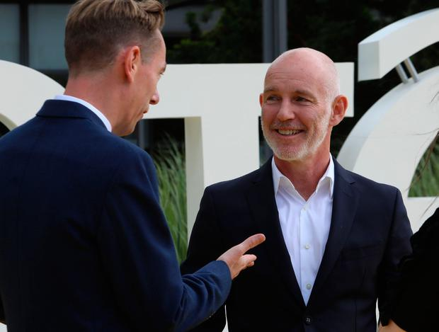 L-R: Ryan Tubridy and Ray D'Arcy enjoy a conversation at a photocall at RTE Donnybrook in Dublin. Picture: Paddy Cummins/Collins