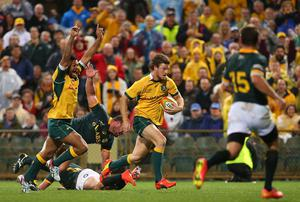 Australia's Rob Horne breaks for the try line late on in the Rugby Championship match against South Africa in Perth, Australia. Photo: Paul Kane/Getty Images