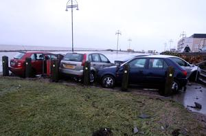Cars are smashed together like toys by 135kph gusts in a Salthill car park, Galway. Picture: Hany Marzouk