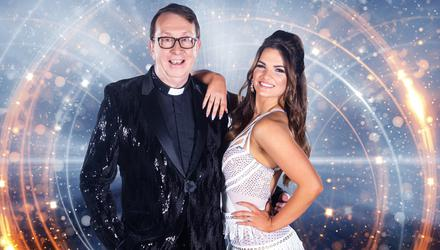 Hitting the floor: Fr Ray Kelly and Kylee Vincent in 'Dancing With The Stars'