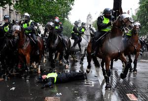 A mounted police officer after being unseated on Whitehall, near Downing Street. Photo: Daniel Leal-Olivas/AFP via Getty Images