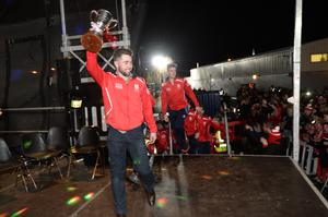 Captain Oisin Gough All Ireland Hurling Champions Cuala at their homecoming in Dalkey tonight. Pic: Justin Farrelly.