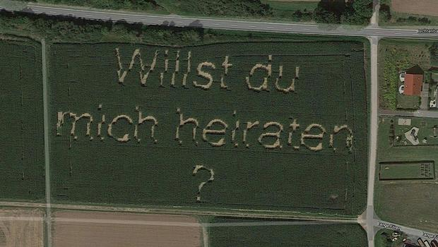 German Farmer's Marriage Proposal Shows Up On Google Maps