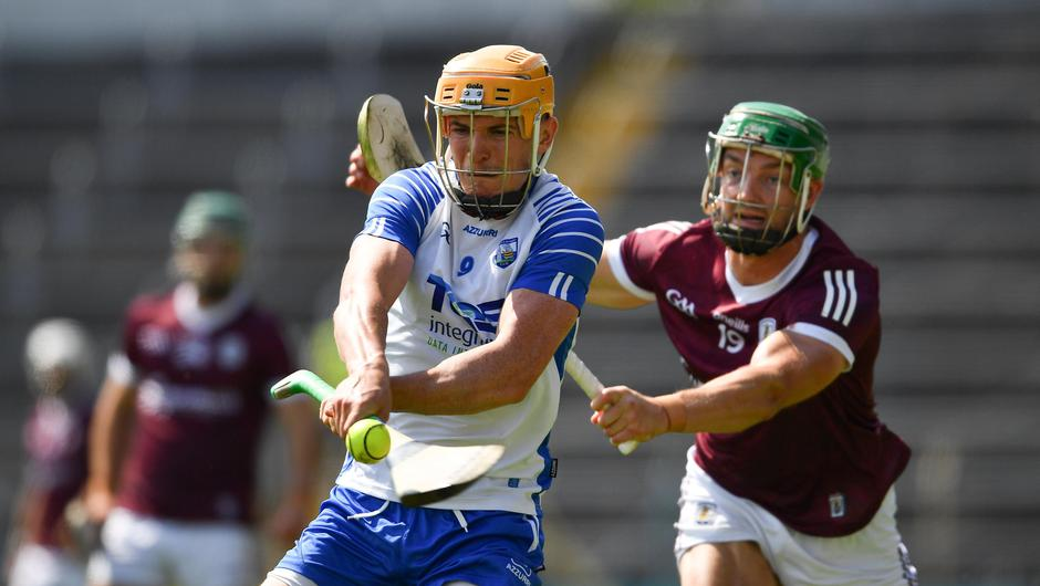 Peter Hogan of Waterford is tackled by Adrian Tuohey of Galway during the GAA Hurling All-Ireland Senior Championship Round 2 match. Photo by Ray McManus/Sportsfile