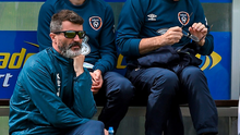 Roy Keane and Martin O'Neill look on during training in Malahide, alongside masseur John Flynn DAVID MAHER/SPORTSFILE