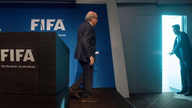 Sepp Blatter leaves the stage after holding a press conference to announce his resignation at Fifa headquarters in Zurich